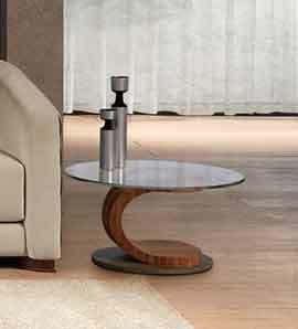 TL58 Mistral, Oval coffee table in walnut, glass and steel, inlaid