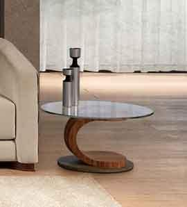 TL58 Mistral small table, Oval coffee table in walnut, glass and steel, inlaid