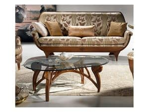 TL24 Le Spirali small table, Coffee table, oval crystal top, for living room