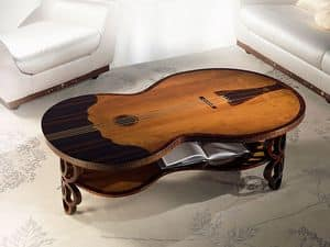 TL36 Pois, Classic coffee table, bass fiddle shaped, for Living room