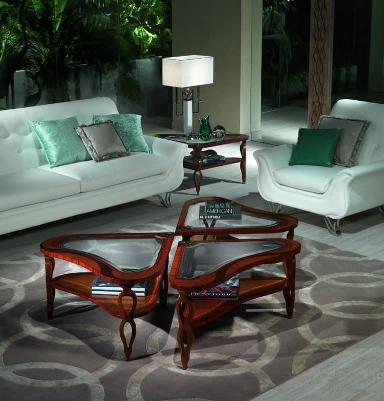 TL38 TL39 Quadrifoglio small table, Inlaid wood tables for luxury classic Villas