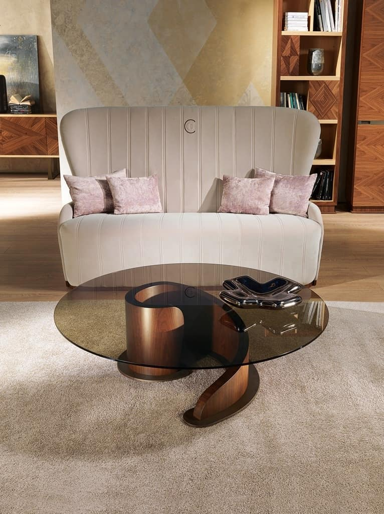 TL41 Minerva small table, Coffee table in plywood, glass top
