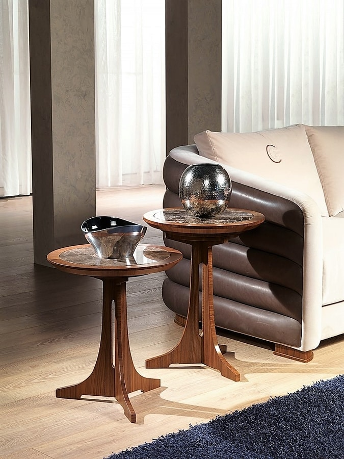 TL50 - TL51 Desyo small table, Coffee tables with round top in classic style