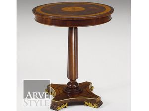Vienna side table, Round small table with inlaid top