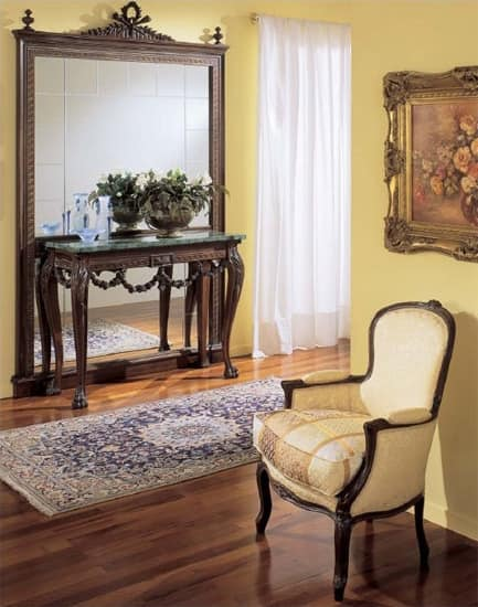 3160 CONSOLE, Luxury classic console, hand-carved, marble top