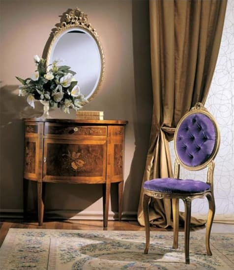 3290 SMALL CUPBOARD, Console in half moon shape, with essence of cherry and walnut