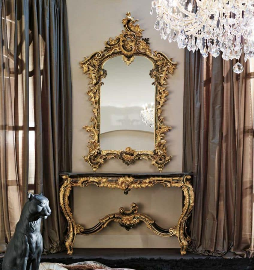 Console Table With Mirror In Solid Beechwood For