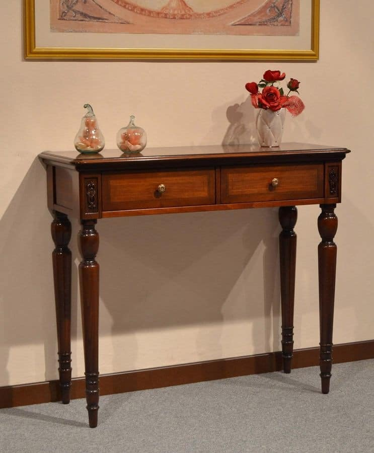 Alice console, Luxury classic console in wood, with 2 drawers