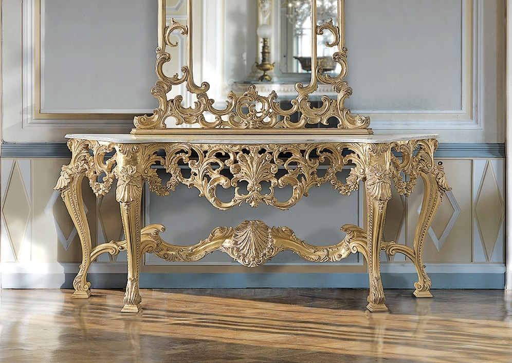 ART. 2949, Classic console with gold finish
