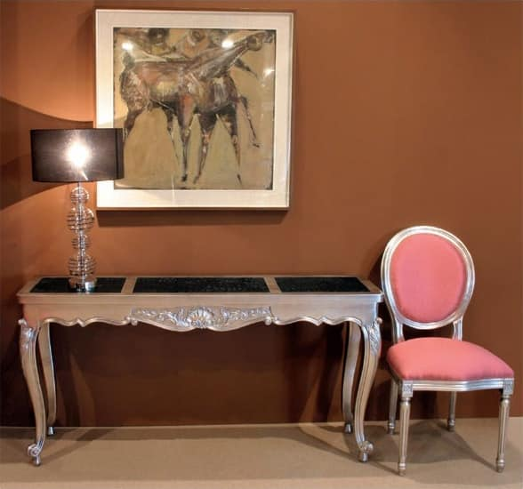 Art. 365/HTL Mary.co., Wood console, eco-leather top, silver finish