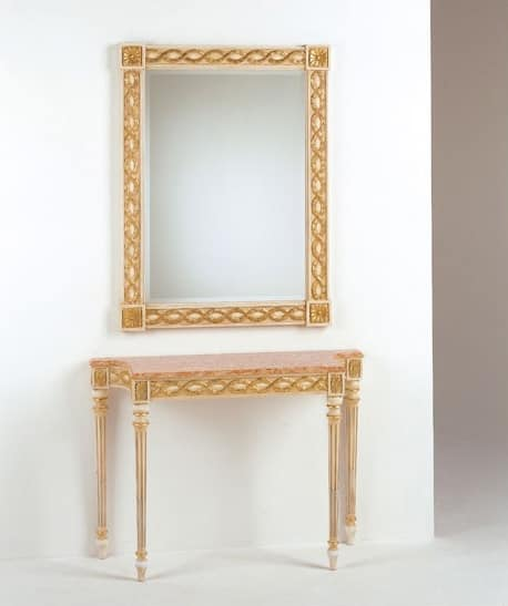 Art. 710, Luxury classic console, marble top, for entrances