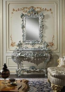 Art. 770 Baroque console, Console with handmade carvings, combined with mirror