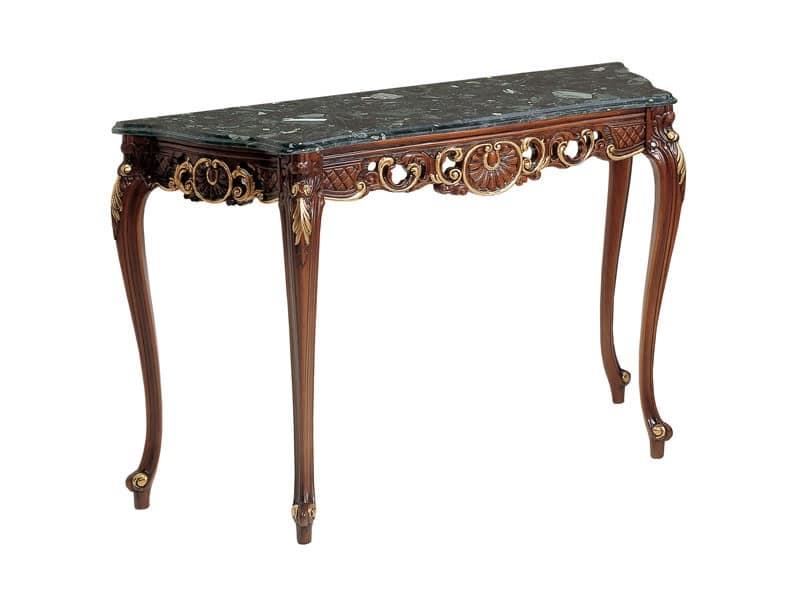 Art. 900, Wood console, walnut finishing, marble top