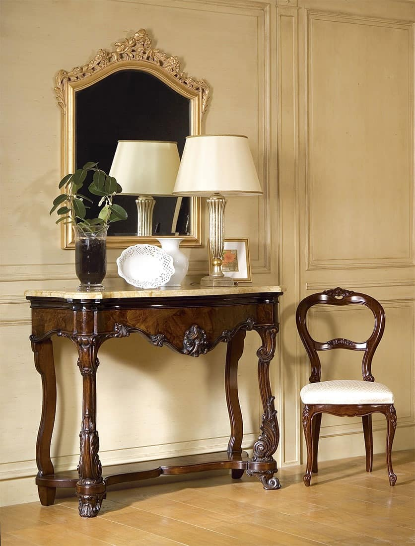 Art. 972, Luxury classic console, marble top, for majestic entrances