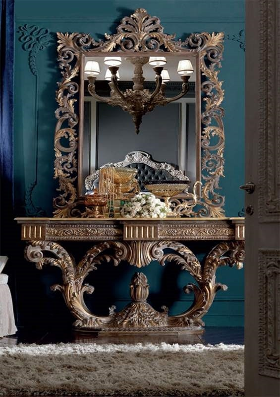 Barocchetto console, Baroque console full of carvings
