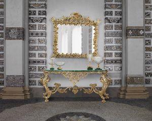 BAROQUE CONSOLE IN MALACHITE, Baroque style console table, with Malachite top