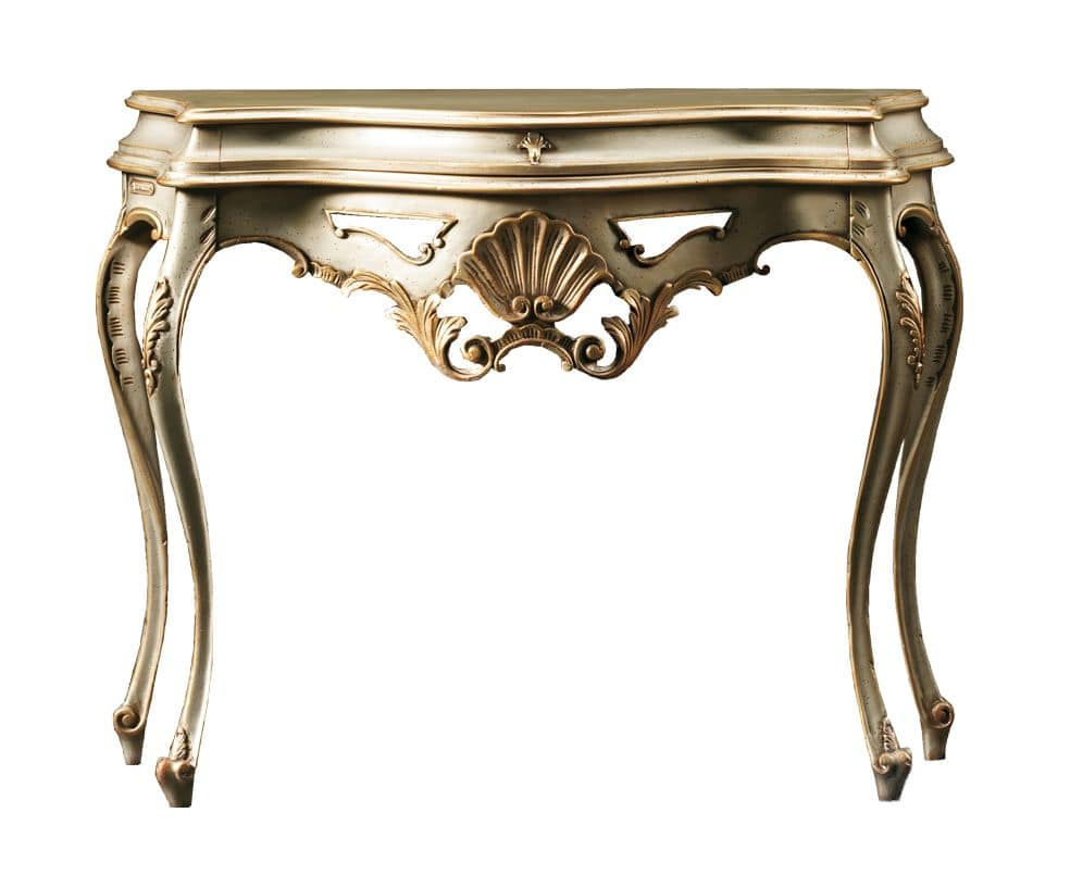 Beatrice FA.0023, Baroque console with a drawer, floral decorations, for environments in classic style