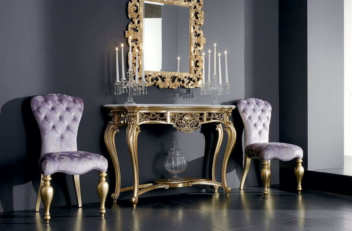 Boemia console, Carved wooden console table with marble top
