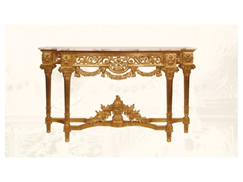 Console art. 217/b special, Consolle made of hand-decorated wood, floral decorations