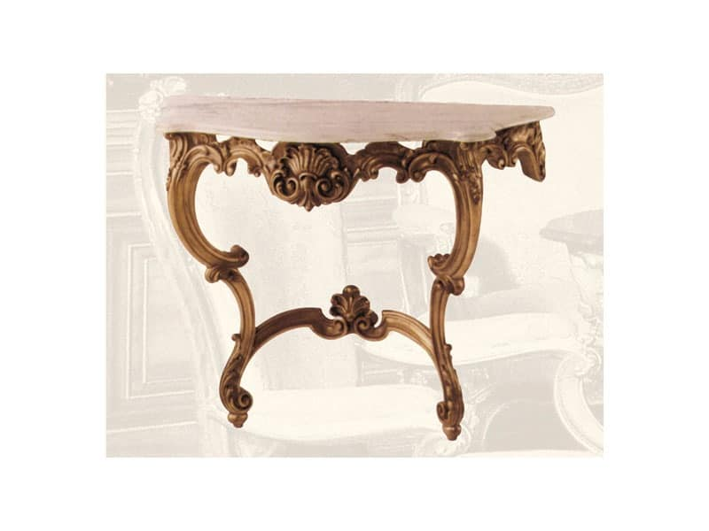 Console art. 241, Consolle made of wood and marble wall, Louis XV style