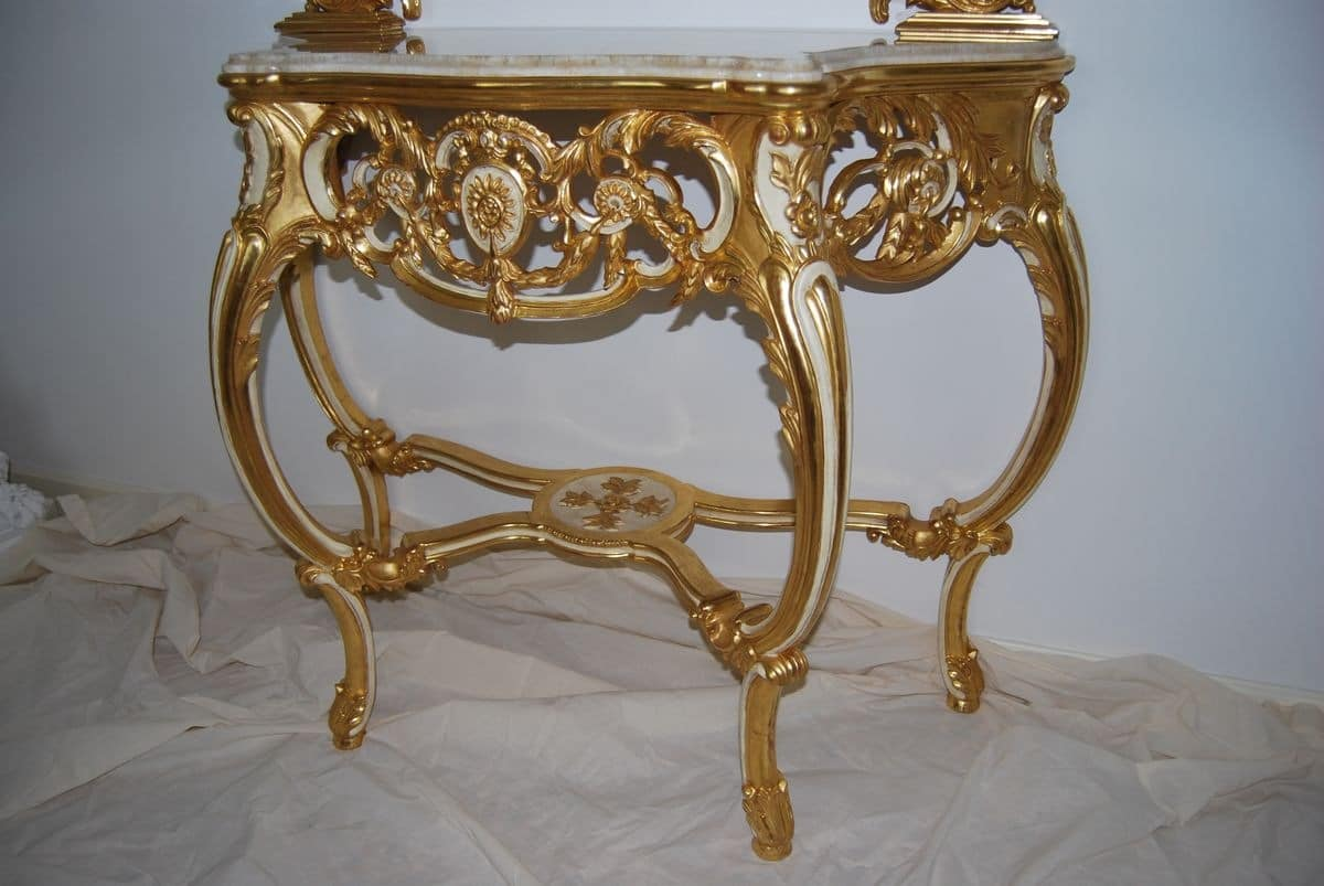 CONSOLE ART. CL 0060 + CR0052, Carved console in classic luxury style for residential use