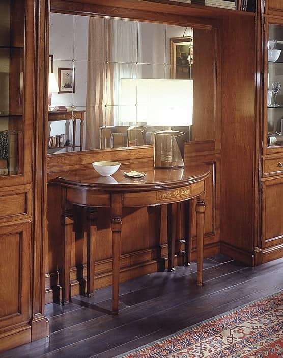 D 407, Classic console table, in inlaid cherrywood