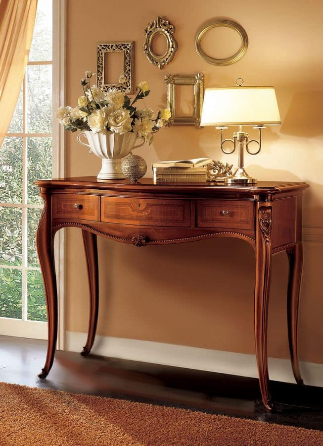 Elite console table, Wooden console ideal for classic luxury environments