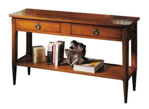 Le Mans VS.5027, Walnut console with 2 drawers and 1 shelf, for entrance halls of hotels and residential in classic style