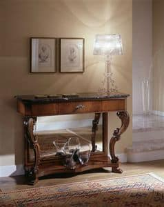 M 405, Walnut console, with antique mirror, marble top