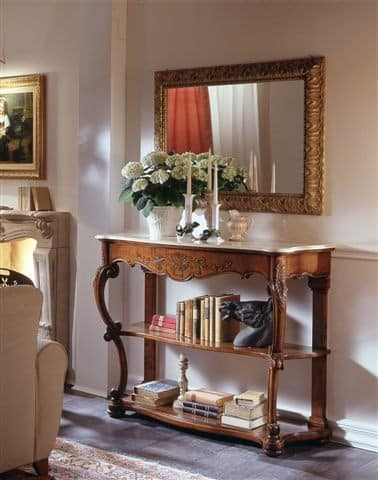 M 406, Classic console in walnut, carved, marble top