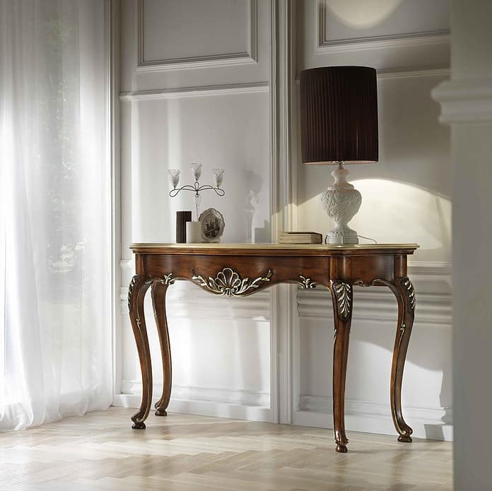 P 401, Console in carved walnut, marble top, classic