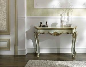 P 401 L, Lacquered console, in walnut with marble top Atlantis