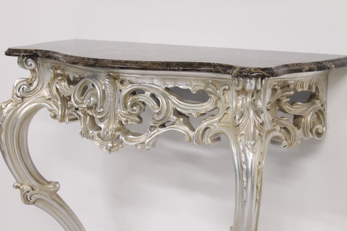 Sensual console, Baroque style console, in carved solid wood