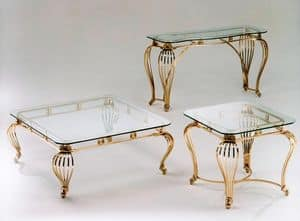 Sofia console, Console in antique brass and tempered glass top