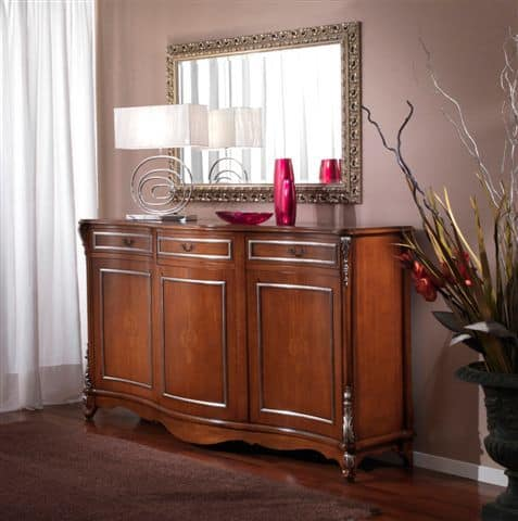 3625 CREDENZA, Sideboard for dining room, silver leaf finishes