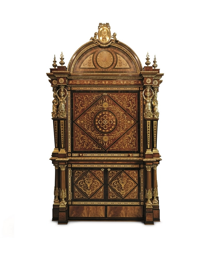 5831, Mahogany wood cabinet with rich inlays
