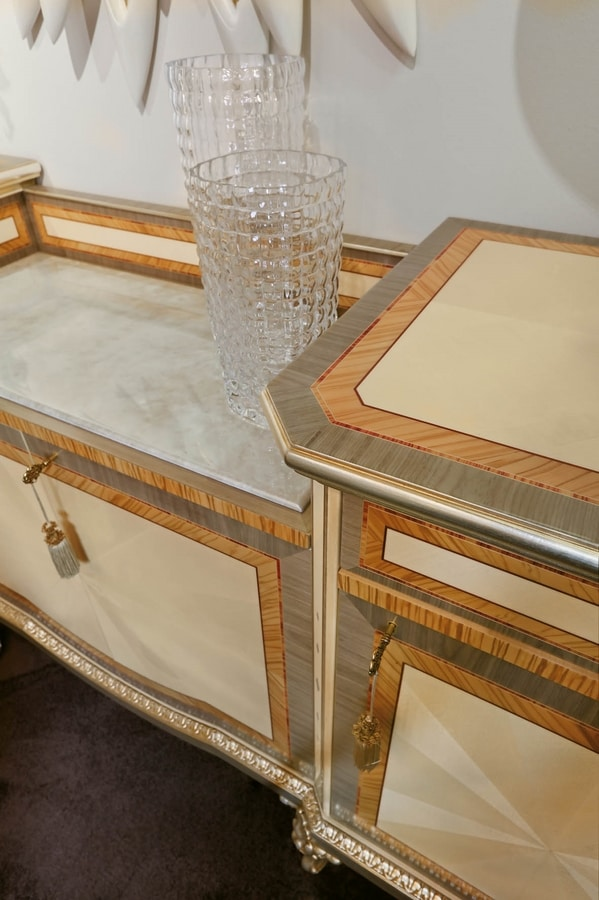 AGNES / sideboard, Inlaid and carved sideboard