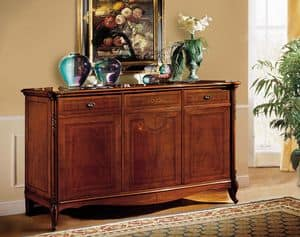 Alice sideboard, Walnut sideboard, with fine carvings and inlays, classic style