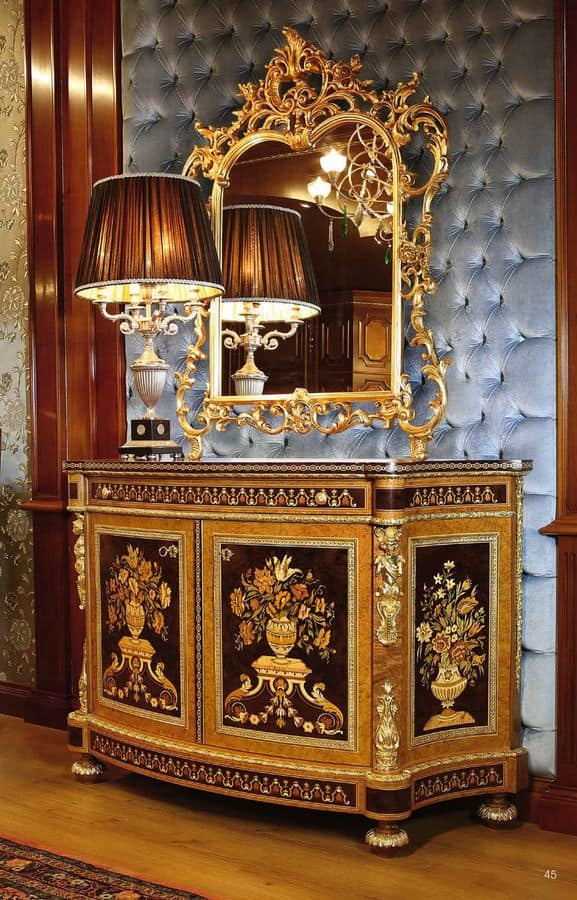 Art. 128, Sideboard for prestigious rooms, decorated with hand-carved, inlaid with floral pattern
