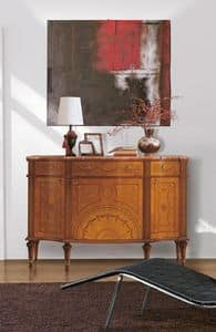 Art. 143, Sideboard luxury, wooden, inlaid 3 doors and 3 drawers, marble top