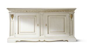 1452LQ, White lacquered classic sideboard with gold leaf decors