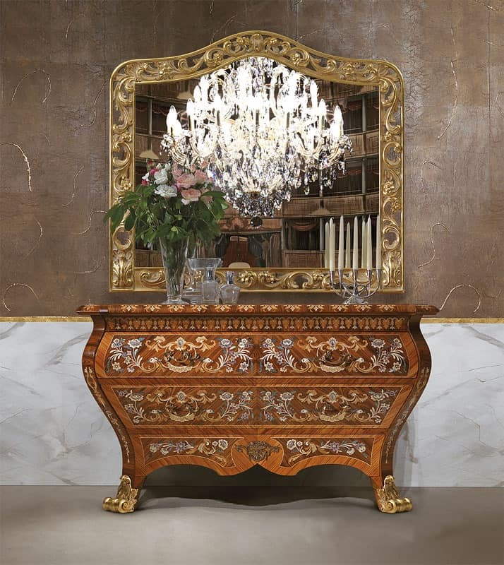 Art. 395, Sideboard luxury, in wood, with 2 drawers, hand carved
