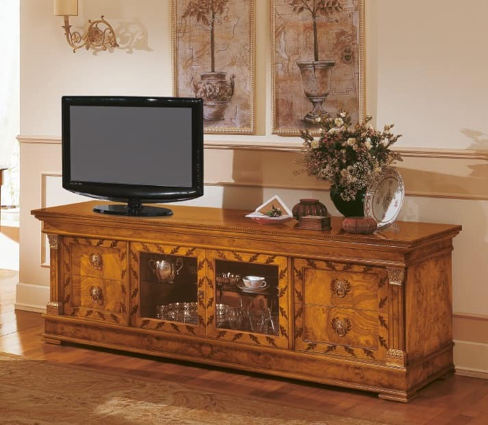 Art. 527/TV, Sideboard classic wooden, TV stand with inlays