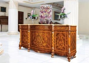 Art. 631/PM, Inlaid sideboard, Hand carved, Classic style, for Dining room