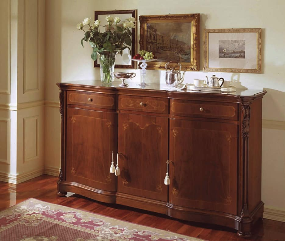 Canova sideboard, Sideboard with lateral curved doors, in classic style