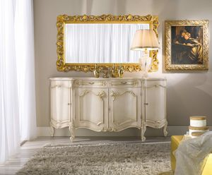 Chippendale sideboard 4 doors lacquered, Elegant lacquered sideboard