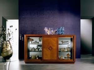 CR25 Arte sideboard, Sideboard in a classic style, with glass and sliding doors