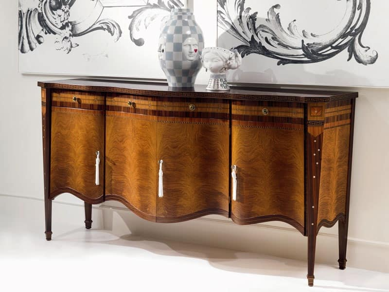 CR41 Pois, 4-doors inlaid sideboard, in classic style, for living room