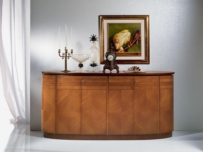 CR491 Neoclassica sideboard, Wooden oval sideboard, classic luxury style