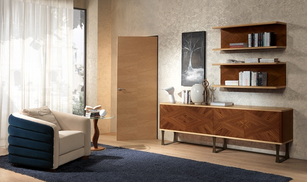 CR55 Desyo sideboard, Wooden sideboard with 4 doors in classic contemporary style
